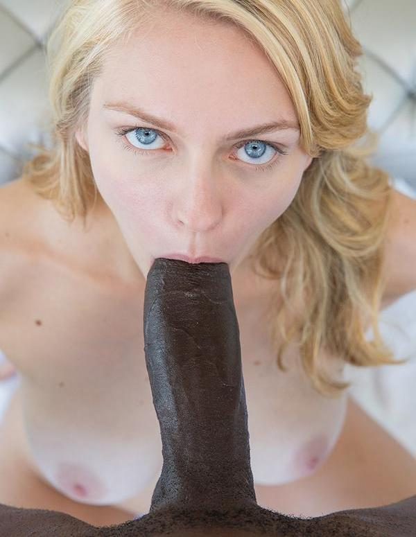 Cute white girl sucks black dick