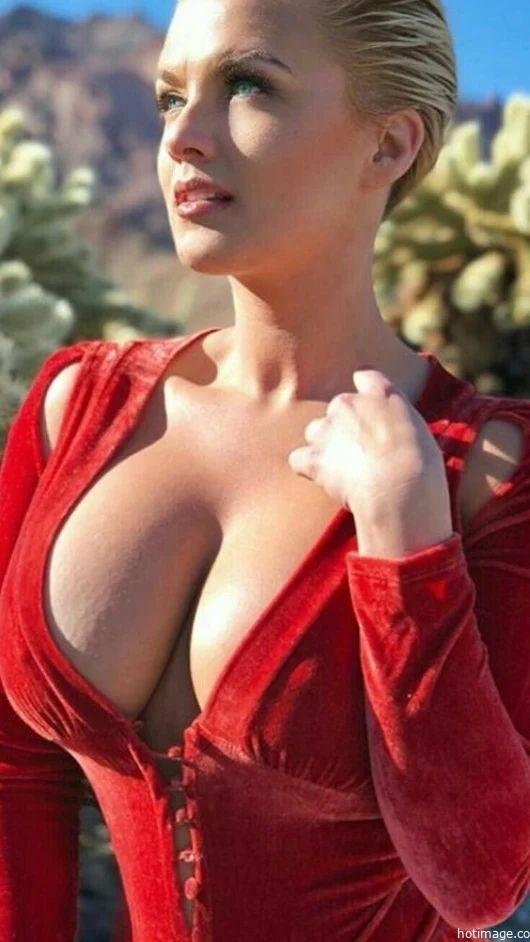 sexy-woman-show-cleavage-and-wearing-red